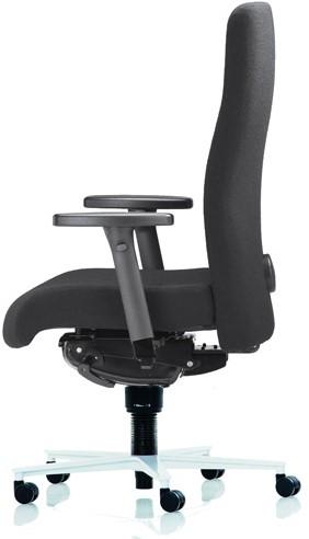 Bureaustoel Rovo 4015 ergo balance armleggers XP4,  rug en zitting gestoffeerd 1-76 zwart, airplus lende systeem, blokkeer-module, voetkruis alu gepolijst en wielen zacht.