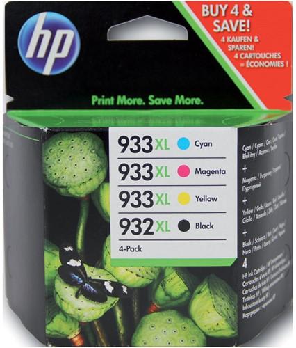 Inktcartridge HP C2P42AE 932XL/933XL zwart + 3 kleuren HC.