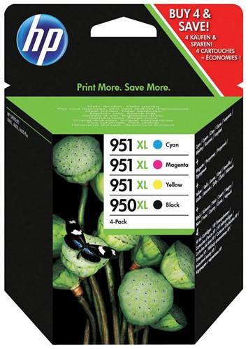 Inktcartridge HP C2P43AE 950XL zwart + 3 kleuren 951XL.
