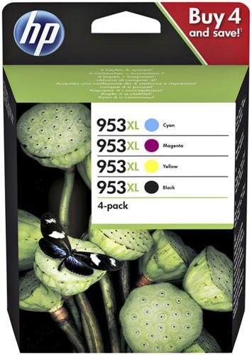Inktcartridge HP 3HZ52AE 953XL zwart + 3 kleuren HC.