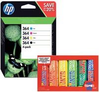 Inktcartridge HP 364 N9J73AE zwart + 3 kleuren.-1