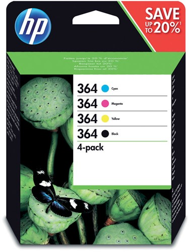 Inktcartridge HP 364 N9J73AE zwart + 3 kleuren.