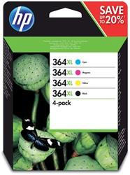 Inktcartridge HP 364XL N9J74AE HC zwart + 3 kleuren.