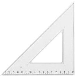 Driehoek Kangaro met inktrand 20cm 45/45/90 graden en cm verdeling.