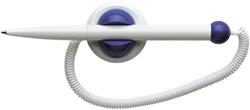 Klick-fix zelfklevende houder + balpen met plastic telesnoer.