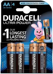 Batterij DuracellAA Ultra Power met powercheck 4 stuks.