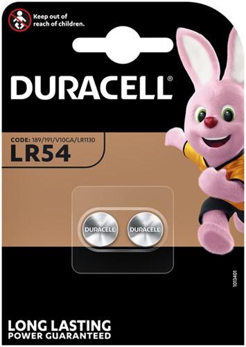 Knoopcel batterij Duracell 2x LR54 alkaline 11.6mm.