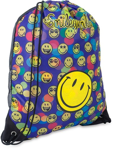 Gymtas Smiley WD Confetti drawstring 420x330x10mm.
