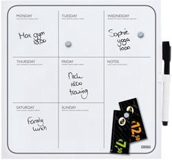Whiteboard Desq 35x35cm weekplanner zonder rand met weekagenda opdruk inclusief stift.