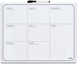 Whiteboard Desq 40x50cm weekplanner zonder rand met weekagenda opdruk inclusief stift.