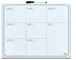 Whitebord Desq 40x50cm weekplanner zonder rand met weekagenda opdruk inclusief stift.