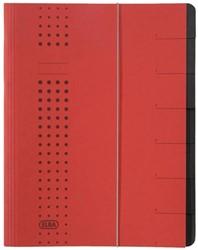 Sorteermap Elba chic A4 7-tabs karton rood.