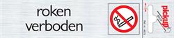 Deurbordje Pickup 165x44mm zelfklevend met tekst en pictogram roken verboden.