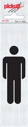 Zelfklevend picto-tekstbord Pickup 165x44mm afbeelding man.