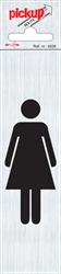 Zelfklevend picto-tekstbord Pickup 165x44mm afbeelding vrouw.