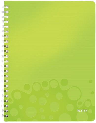 Notitieboek Leitz WOW A4 spiraalgebonden kunststof kaft groen - 80 vel 80 grams gelijnd papier 4637-00-64 (model/kleur 2019).