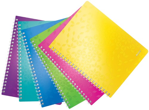 Notitieboek Leitz WOW A4 spiraalgebonden kunststof assortikleuren - 80 vel 80 grams gelijnd papier 4637-00-99.