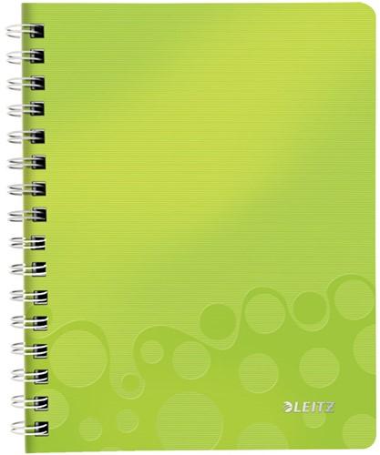Notitieboek Leitz WOW A5 spiraalgebonden kunststof kaft groen - 80 vel 80 grams geruit papier 4641-00-64 (model/kleur 2019).