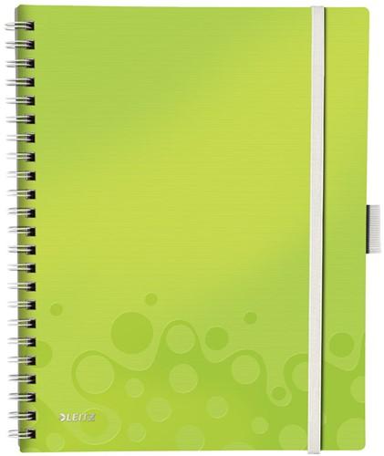 Notitieboek Leitz WOW Be Mobile A4 kunststof kaft groen - 80 vel 80 grams geruit papier 4645-00-64 (model/kleur 2019).