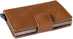 Pasjeshouder Figuretta etui - kunstlederen omslag in de kleur middenbruin cap. 6 kaarten.