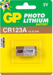 Batterij GP-CR123A fotolithium 3 volt DL123A.