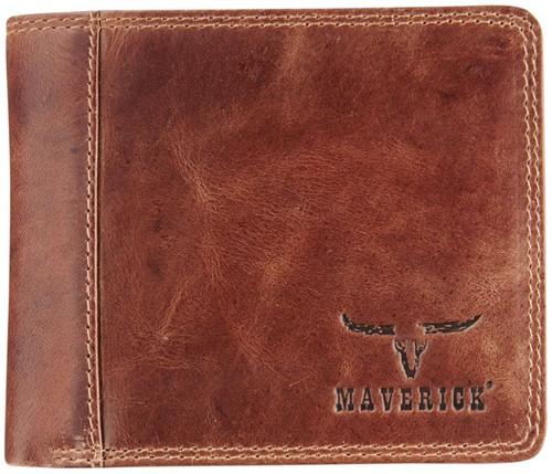 Portemonnee Brepols Maverick Dalian Mark II Billfold RFID 2 vensters + kleingeldvak donkerbruin.