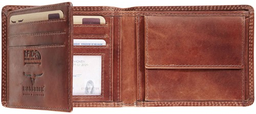 Portemonnee Brepols Maverick Dalian Mark II Billfold Compact RFID 1 venster + kleingeldvak donkerbruin.-2