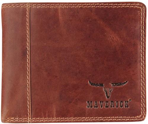 Portemonnee Brepols Maverick Dalian Mark II Billfold Compact RFID 1 venster + kleingeldvak donkerbruin.