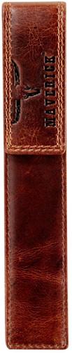 Pen etui Brepols Maverick Dalian II 21,5x5cm voor 1 pen donkerbruin.
