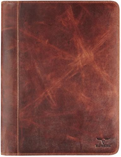 Schrijfmap Brepols Maverick Dalian Mark II A4 27x34.5cm met rits donkerbruin.