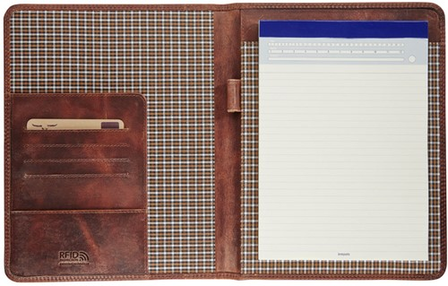 Schrijfmap Brepols Maverick Dalian Mark II A5 18x22.5cm zonder rits donkerbruin.-2