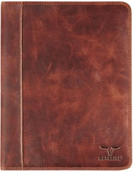 Schrijfmap Brepols Dalian Mark II A5 18x22.5cm zonder rits donkerbruin.