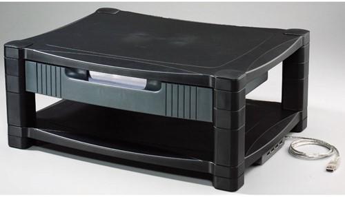Monitorstandaard Quantore met opberglade 43x34cm zwart.-2