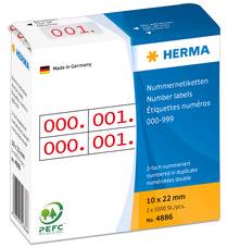 Nummeretiket Herma #4886 10x22mm 2x 0-999 zelfklevend opdruk rood.