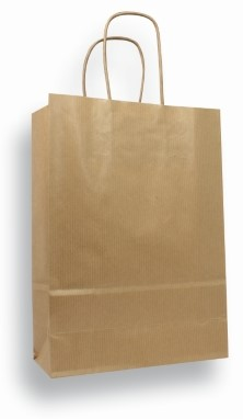 Draagtas 180x80x240mm kraft papier bruin 100 grams pak van 10 stuks.