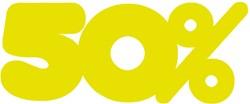 Etalagekarton fluor geel tekst 50% 18x7cm 380 grams pak van 10 stuks.