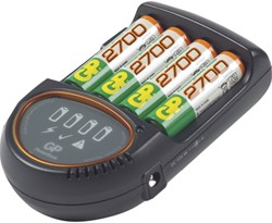 Batterij oplader powerbank GP H500 t.b.v. AA-AAA 12 volt, incl. 4 batterijen AA GP-PB50GS270.