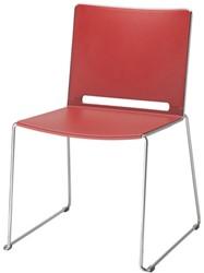 Bezoekersstoel Marko Huislijn HS-500 op slede frame kleur chroom rug/zitting rood.