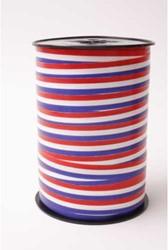 Cadeauband 10mmx250meter rood/wit/blauw kleur 70.