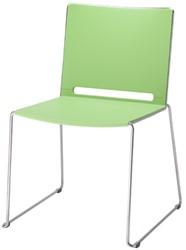 Bezoekersstoel Marko op sledeframe, rug en zitting in polypropyleen frame chroom rug/zit groen.