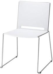 Bezoekersstoel Marko Huislijn op sledeframe met armleuning rug en zit in polypropyleen frame: CR kleur chroom Rug/zit: wit armopdek: wit.