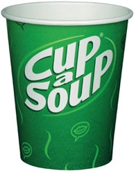 Cup-a-soup kartonnen bekers verpakt per 50 stuks.