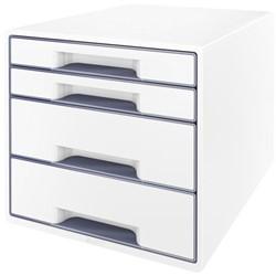 Ladenbox Leitz WOW A4 4 laden (2 groot en 2 klein) wit/grijs.