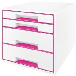 Ladenbox Leitz WOW A4 4 laden (2 groot en 2 klein) wit/rose.