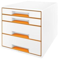 Ladenbox Leitz WOW A4 4 laden (2 groot en 2 klein) wit/oranje.