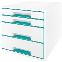 Ladenbox Leitz WOW A4 4 laden (2 groot en 2 klein) wit/ijsblauw.