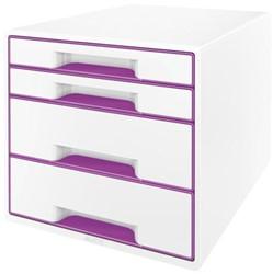 Ladenbox Leitz WOW A4 4 laden (2 groot en 2 klein) wit/paars.
