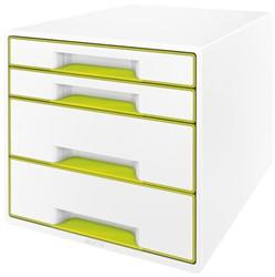 Ladenbox Leitz WOW A4 4 laden (2 groot en 2 klein) wit/groen.