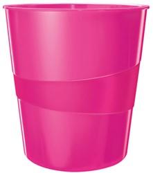 Papierbak Leitz WOW kunststof rond/taps roze 15 liter 290x324x290mm.