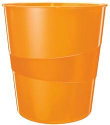 Papierbak Leitz WOW kunststof rond/taps oranje 15 liter 290x324x290mm.